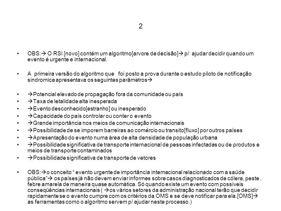 2 OBS: O RSI [novo] contém um algoritmo[arvore de decisão] p/ ajudar decidir quando um evento é urgente e internacional.